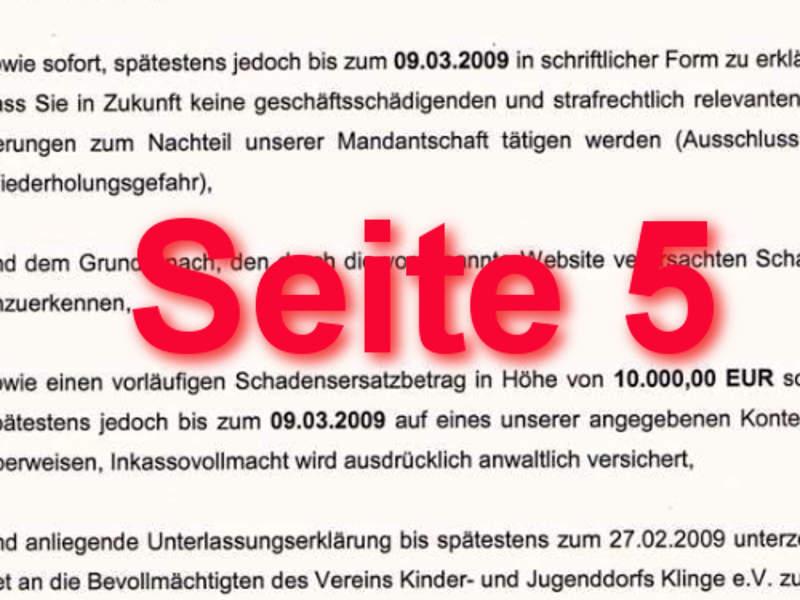 Seite 5 Unterlassungsaufforderung und Zahlungsaufforderung
