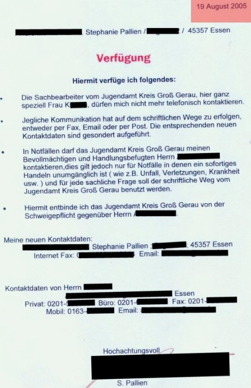 Verfügung gegen Veronika Krossa Jugendamt Groß-Gerau